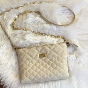 """Handbags - Crossbody Creme """"Leather"""" quilted small purse"""